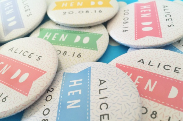 Hen do badges from Not on the  Highstreet